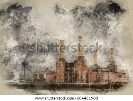 Watercolour painting of Battersea power station against dark stormy sky