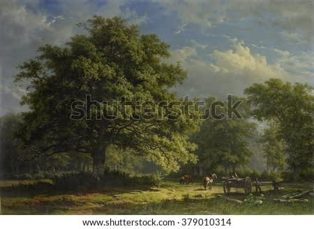 View in the Bentheim Forest, by George Andries Roth, 1870, Dutch painting, oil on canvas. Bentheim Forest in eastern Netherlands with large oak and lumbermen loading tree trucks on a mallejan.