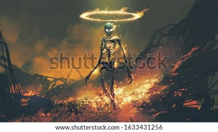 horror character of demon skeleton with fire flames in hellfire, digital art style, illustration painting