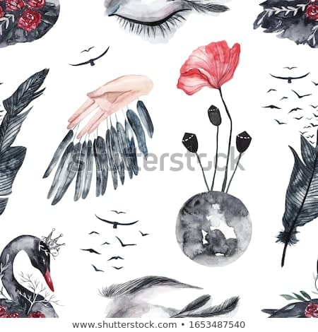 Seamless pattern with watercolor eyes and swans, feathers and birds, red flowers. Watercolor mystical gothic background