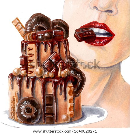 Watercolor illustration of a female mouth biting chocolate and chocolate cake. Hand drawn lips and dessert isolated on white.
