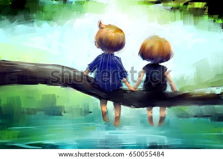 digital painting of young couple sitting on a log in the water, acrylic sketched on canvas texture, story telling illustration