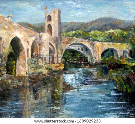 Scenic landscape with an old viaduct in a Spanish town. Oil painting on cardboard.