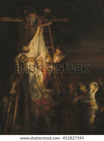 The Descent from the Cross, by workshop of Rembrandt van Rijn, 1650-52, Dutch painting, oil on canvas. Probably painted by Constantijn van Renesse