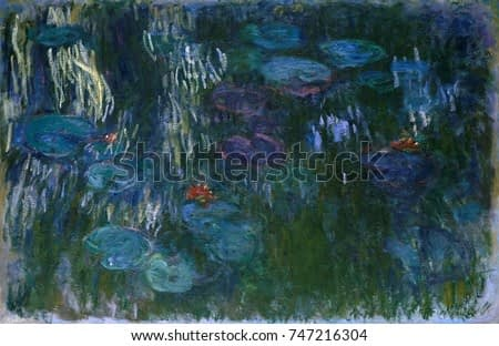 Water Lilies, by Claude Monet, 1916_19, French impressionist painting, oil on canvas. In his last decade, Monet painted waterlilies in a fluid, free style