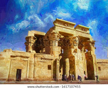 Tourists visiting the ancient Kom Ombo Temple, which has double entrance and Hieroglypics carvings on wall, dedicated to Sobek the crocodile god, and Horus the falcon-headed god. Egypt.-oil painting.