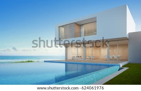 Wall Decor Galore Luxury Beach House With Sea View Swimming Pool In Modern Design Vacation Home For Big Family 3d Rendering