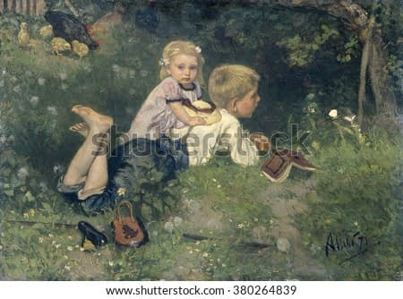 The Butterflies, by August Allebe, 1871, Dutch painting, oil on panel. A boy lying on grass while watching butterflies. He is accompanied by a blond little girl. A black hen with her chicks is nearby.