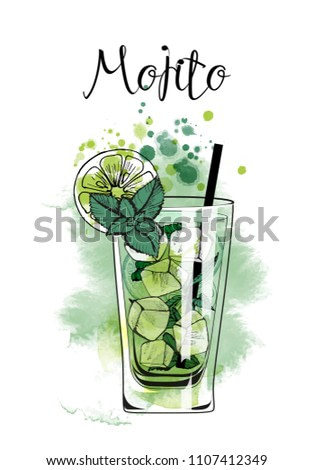 Mojito. Watercolor illustration of cocktails. Hand drawn sketch