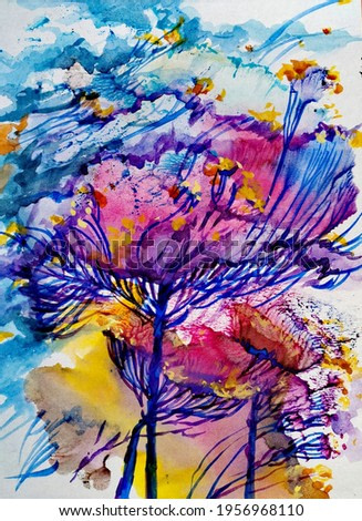 Floral arrangement using watercolor monotype and brush painting