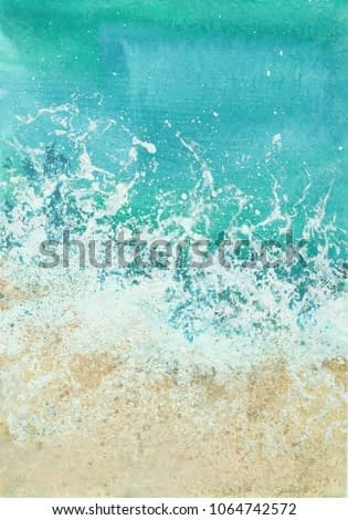 tidal wave, watercolor illustration  on white background