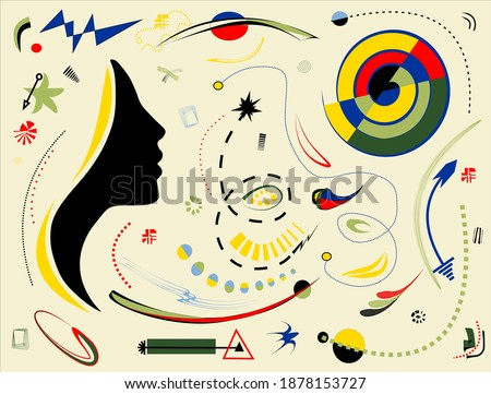 Abstract  colorful background , head of a woman , surrealism art style