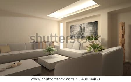 Modern light living room interior with huge photography on wall