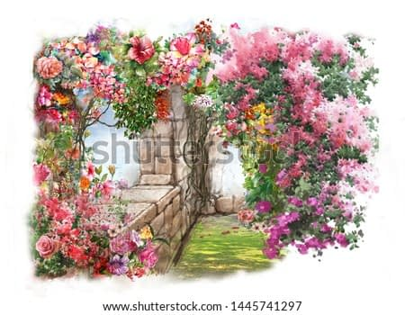 Abstract colorful flowers watercolor painting. Spring  with buildings and walls