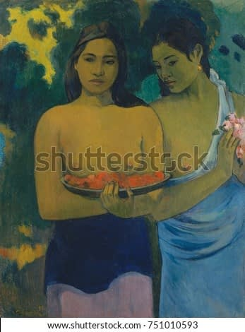 Two Tahitian Women, by Paul Gauguin, 1899, French Post-Impressionist painting, oil on canvas. This work features the beauty of the Tahitian women, painted with sculpturally modeled forms with subtle g