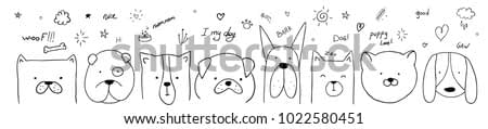 vector illustration pattern set of pretty dogs. graphic design for decorated. linear sketches of animals for design and decoration of gifts and printing on T-shirts vector