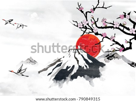 Background for Japanese / Korean greeting cards. Mountain background with blossoms  and crane birds. Japanese / Korean style. Great for greeting cards, posters or texture design.