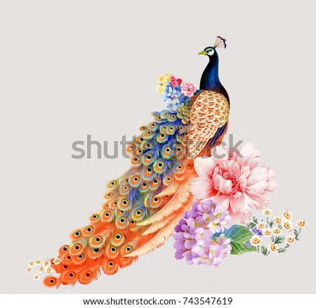 Colorful flowers, the leaves and flowers art design