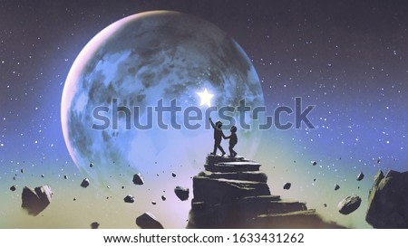 two brothers walking on floating mountain and looking at a little star in the beautiful sky, digital art style, illustration painting