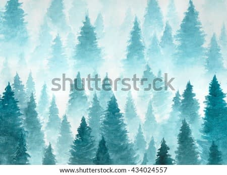 Hand Drawn Watercolor Painting of Winter Forest Landscape. Vector Taiga