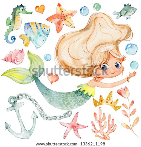 Mermaid Watercolor Child Character Sea Collection. Underwater Woman Nymph Children Mythology Princess. Mythical Aquatic Isolated Siren Colorful Painting. Ocean Set Flat Cartoon  Illustration