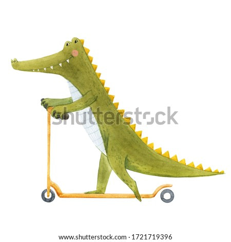 Beautiful stock illustration with cute watercolor crocodile on scooter. Baby alligator hand drawn painting.