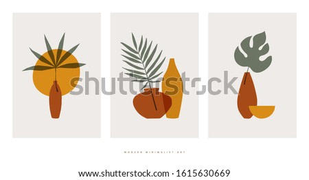 Collection of abstract botanical compositions vector flat illustration. Trendy collage with elements of exotic palm leaves for eco-design on isolated background. Modern minimalist art.
