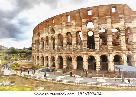 Beautiful view on Colosseum colorful painting looks like picture