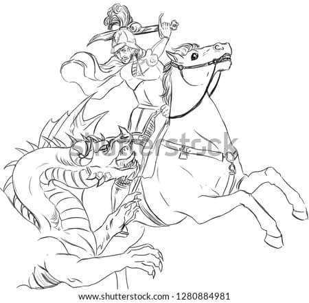Digital black and white illustration of a knight on horseback fighting with a dragon, inspired by the Renaissance painting