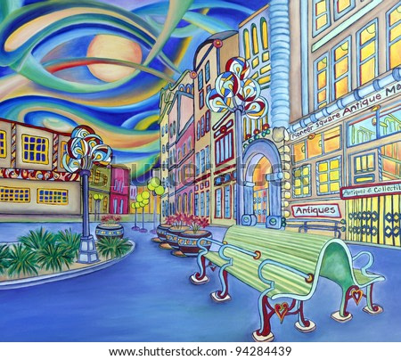 Oil painting of Seattle downtown. Modern city. Colorful original design. Pioneer square.