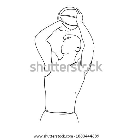 One continuous single drawing line art doodle basketball, ball, sport, athlete, basket. Isolated flat illustration hand draw contour on a white background