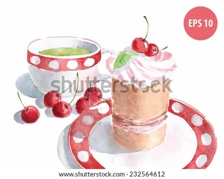 watercolor cake on dish with cup of green tea, painting food