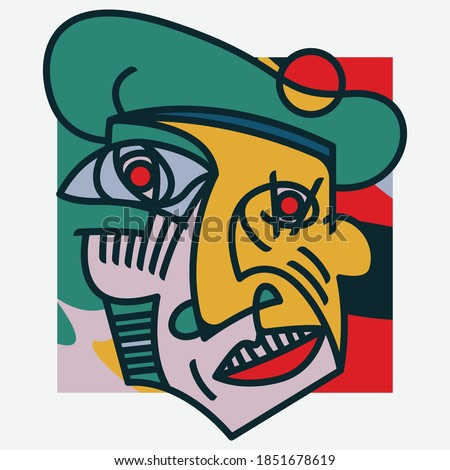 Red Eyes Artist Picasso Style Vector Illustration