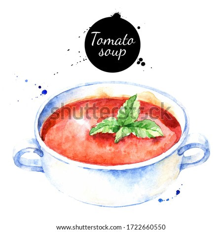 Watercolor illustration of tomato soup. Painted isolated natural food on white background