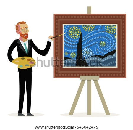 impressionist painter creating a painting of a night sky