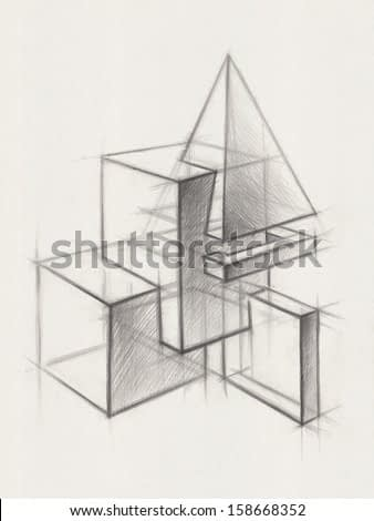 Solid Geometric Shapes:  Illustration of Geometric Shapes. It is a Pencil Drawing