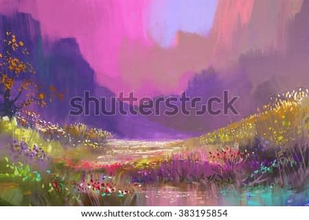 beautiful landscape in the mountains with colorful flowers,digital painting,illustration