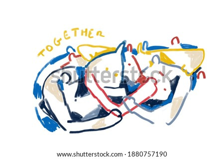 Colorful abstract people, expressionism and Keith Haring art style. People with mention together. Painting Drawing with primary color, for print and wall art.
