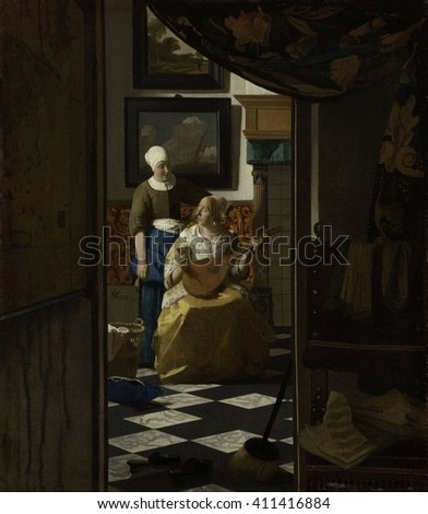 The Love Letter, Johannes Vermeer, 1669-1670, Dutch painting, oil on canvas. From a dim room in the foreground, a women playing a lute is interrupted to receive a letter from her maidservant. Interio