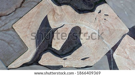 pregnant earth,  United States, abstract photography of relief drawings in fields in the U.S.A. from the air, Genre: abstract expressionism, abstract expressionist photography,