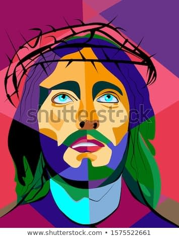 Colorful abstract background, cubism art style, jesus ,crown of thorns