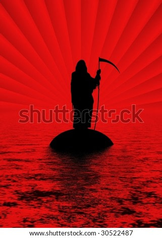 Silhouette of the Grim Reaper on an island