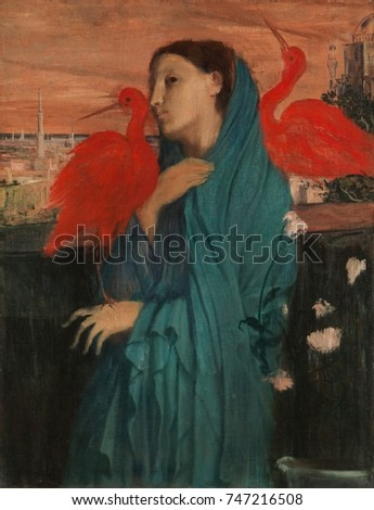 Young Woman with Ibis, by Edgar Degas, 1860-62, French impressionist painting, oil on canvas. Degas added fantasy to his portrait of a woman with imaginary red ibis and a Middle Eastern cityscape