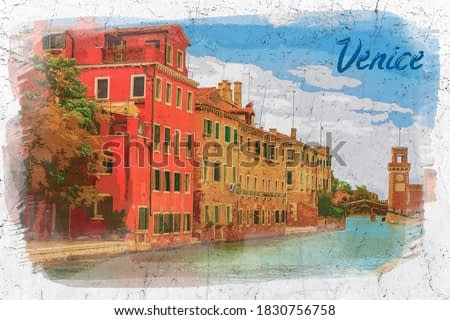 Grand Canal and old buildings in Venice, Italy, watercolor painting