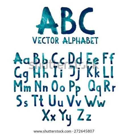 Colorful watercolor aquarelle font type handwritten hand drawn doodle abc alphabet letters uppercase and lowercase vector.