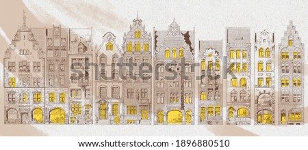 Graphic houses painted on a brown old paper. Light brown city background. Design for wall mural, card, postcard, wallpaper, photo wallpaper.