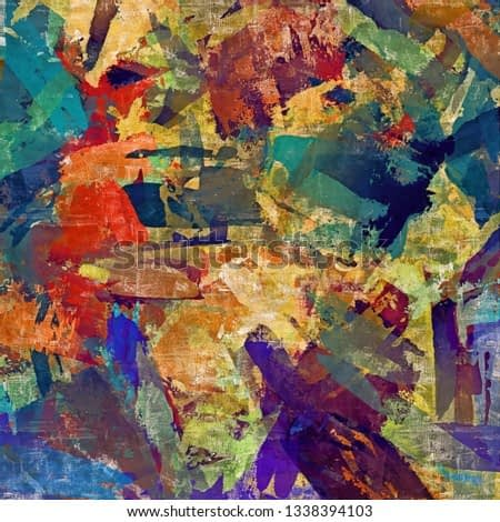 abstract psychedelic background with the texture of applying underpainting. Computer stylization of oil strokes of paint with brushes of different shapes and sizes