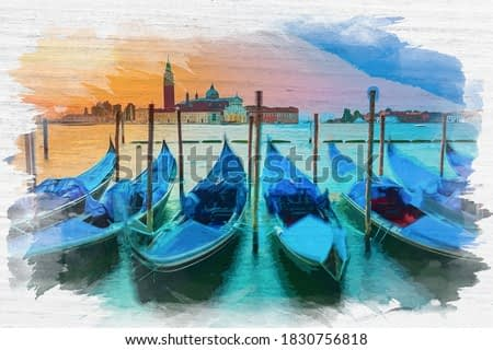 Watercolor painting of sunrise over the Grand Canal in Venice, Italy