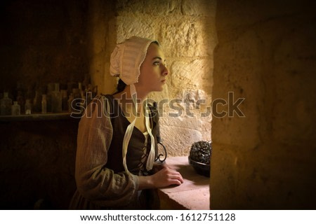 Vermeer style portrait of a young woman in Renaissance outfit looking out of the window of a medieval French castle - with property release