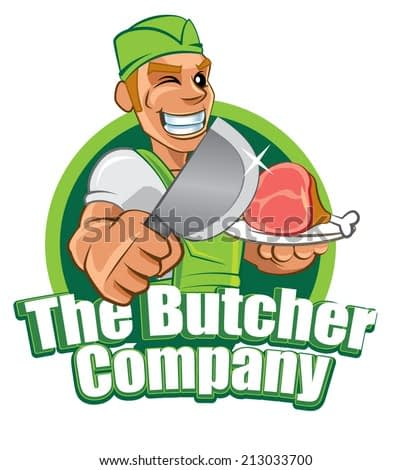 Cartoon character butcher holding the cleaver and fresh chicken meat, vector